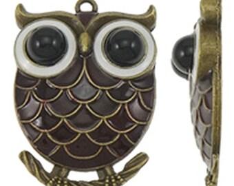1pc 58x41.5mm zinc alloy enamel  owl pendant-8162H