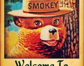 Smokey Bear Welcome To Forest Sign Made in USA Limited Edition Officially Licensed U.S. Forest Service Rustic Log Cabin Lodge Vintage Image