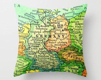 GERMANY Map Art Pillow Decor  Map Pillow | Frankfurt Berlin Hamberg Bucket List Travel Decorative Throw Pillow Cover Vintage Europe World