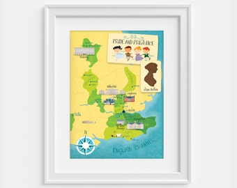 Pride and Prejudice map. Jane austen poster (12,60 x 18,10)