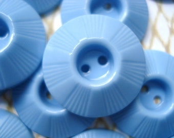 Buy One Get One Free - Blue Plastic Housecoat Buttons - 12 Blue Housedress Buttons - Plastic Whistle Buttons