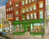 """Drawing Print Dublin bookshop and bus in Dublin, Ireland  , illustration red green wall art home decor - Size A4/ 8,27"""" x 11,7"""" UNFRAMED"""