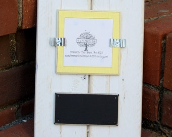 Picture Frame with Chalkboard - Distressed Wood - Holds a 3x3 Photo - Distressed Wood - White & Light Yellow - Black Chalkboard