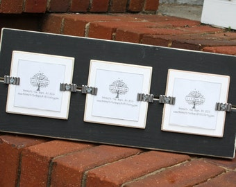 Picture Frame - Distressed Wood Edges - Holds 3 - 3x3 Photos - Black & White