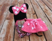 Minnie Mouse Hat and Skirt set- Made to Order- Any Size