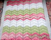 American Girl doll afghan - Reborn baby blanket - Bitty Baby blanket - doll blanket - chevron - ripple - pink/green/white