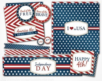 4th of July Printables - Party Package - Cupcake Toppers Favor Tags Water Bottle Labels Straw Flags - Patriotic Independence Day Decorations