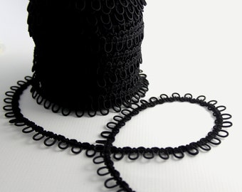 Black Elastic Bridal Button Loops