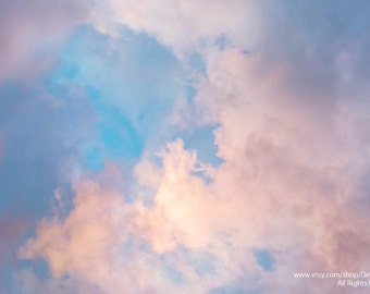 Heavenly Sky Cloudscape - Spring And Summer Nature Sunrise Sunset -Pastel Pinks & Blue - Home Decor Wall Art - Fine Art Photography Print