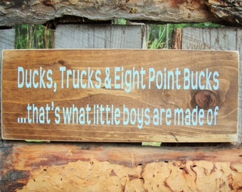 ducks trucks eight point bucks sign little boys sign boys room decor hunting sign trucks - Hunting Bedroom Decor