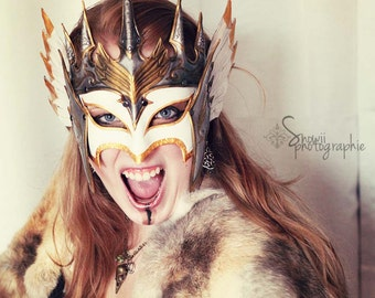 Queen of the Valkries, leather, mask, armor, larp, white, gold, silver