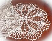 Large white crochet doily Linen crochet doilies Lace doily Table decoration Crochet flower doily