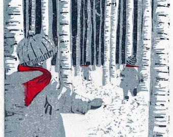 Original woodcut print children in snow limited edition woodblock with chine collé winter scene