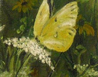 """Fine Art Print of my Original 5 X 7 Oil Painting """"Yellow Butterfly"""""""