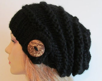 PDF Knitting Pattern Instant Download Chunky Slouchy Beanies Berets Beehive Hat with Button Womens Girls