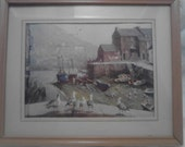 Vintage Framed  Seaport Picture