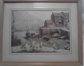 Vintage Framed  Seaport Picture