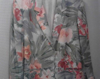 Jones New York  1980's Plus  Size Floral Jacket