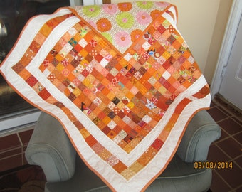 Orange Scrappy Quilt, Postage Stamp Quilt, Baby Quilt, featuring: Liberty of London,Moda,Kaffe Fassett,RileyBlake and manyothers