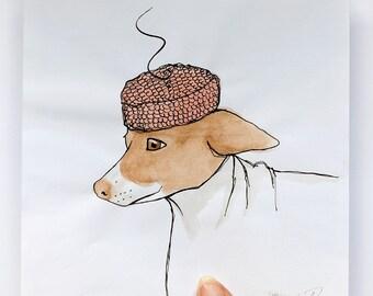 OOAK Original illustration of Morran the dog