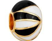 Black and White Enamel Spacer Bead  For European Style Charm Bracelet Gpld Plated