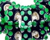 3D Green and Black Glass Lampwork Beads for  European Style Charm Bracelet