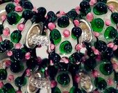 3D Green, Pink and Black on Clear Glass Lampwork Beads for  European Style Charm Bracelet