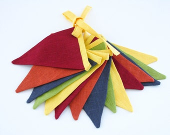 Bunting / Fabric Flag Banner / Pennant Nursery / Porch / Patio Decor / Photo Prop / Yellow / Green / Dim Gray / Saddle Brown / Red