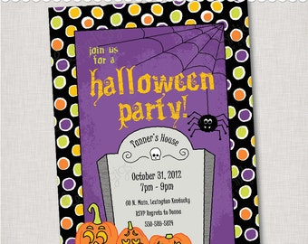 Halloween Party Invitation - Digital File or Printed Invitations with Envelopes - FREE SHIPPING