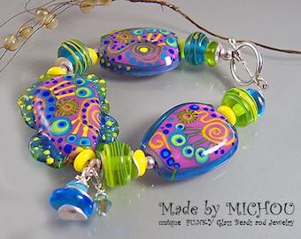 Sundancing - Art Glass - Lampwork bracelet by Michou