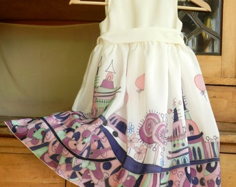 City scape silk dress hand painted for kids. Fairy tale silk dress. Violet dress  with city scape motive. Ready to ship. .