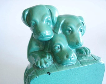 puppy pack art deco green bookend  1930s