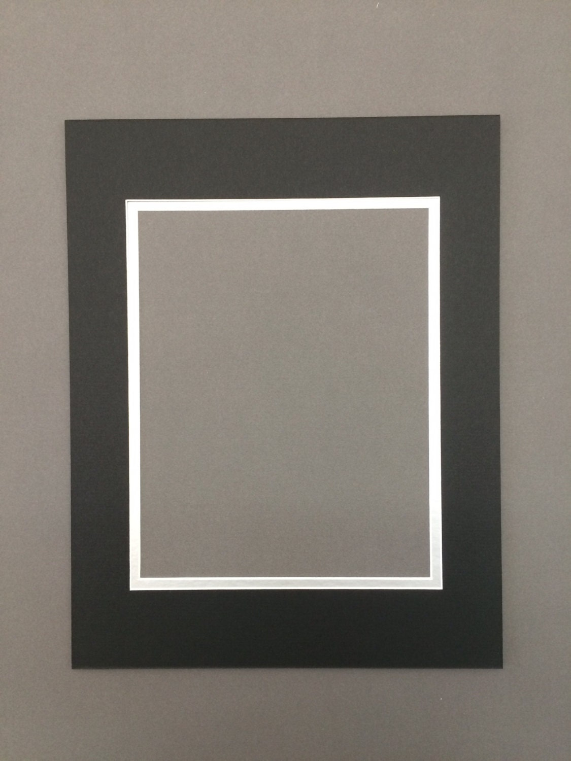 16x20 Black Amp Silver Double Picture Mat With White Core