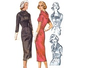 1950s Wiggle Dress Pattern, McCall's 4210, Sexy Sheath Dress with Dramatic Cowl Collar, 1957 Vintage Sewing Pattern, Bust 32, Uncut