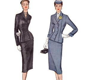 Vintage 1950s Sewing Pattern - Ladies 2 Piece Suit with Tailored Nip Waist Jacket & Slim Skirt, Bow Trim - 1954 McCall's 9889, Bust 30