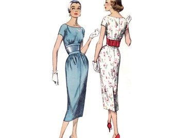 Vintage 1950s Sewing Pattern - Sexy Sheath Dress with Wide Midriff & Scoop Neckline - 1957 Simplicity 1993, Bust 32, Uncut