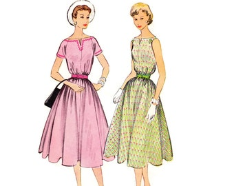 1950s Dress Pattern, McCall's 3068, Belted Tent Dress, Notched Boatneck, Full Skirt, Easy, 1954 Vintage Sewing Pattern, Bust 30, Uncut