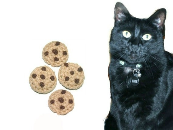 Cat Toys - Crochet Chocolate Chip Catnip Cookies - Set of 4