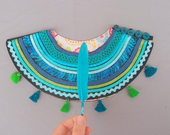 Ethnic Necklace with green and blue tassels, Sea Textile Necklace, Unique necklace for women, Gift for her, Boho Necklace, Tribal Necklace