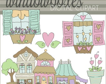 Window Boxes Clipart Set -Personal and Limited Commercial- Shabby Chic Windows, Shabby Chic Clipart