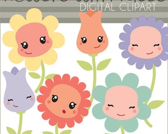 Spring Clipart Happy Flowers Personal And Limited Commercial Use Cute With Kawaii Faces