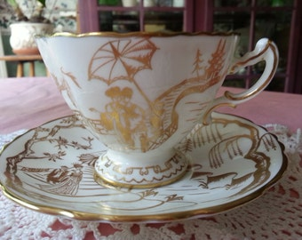 Breathtaking, Rare Hammersley Golden Geisha Tea Cup and Saucer, Gift for Bride