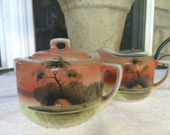 Lovely Asian Style Hand Painted Sugar and Creamer, made in Japan