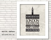 Sherlock Holmes quote  printable art decor, London, wall art  - BDS 034