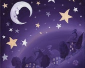 Swirly Whirly Sleepy Land, Whimsical Greetings card Blank Inside.