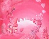 Love Skies, Whimsical Greetings card Blank Inside.