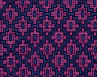 Navy Blue Fuchsia Upholstery Fabric - Hot Pink Blue Geometric Fabric for Furniture - Custom Fuchsia and Navy Blue Pillow Covers with Cording