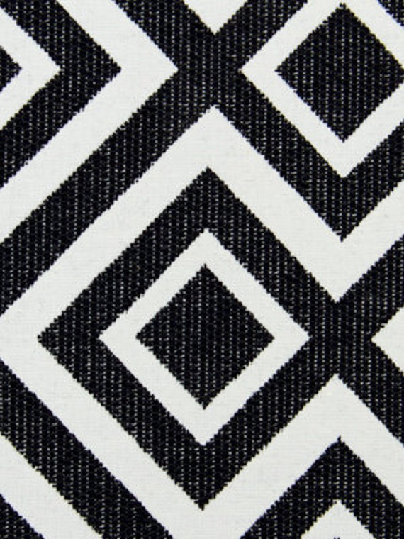 Black White Geometric Upholstery Fabric - Fabrics On Sale
