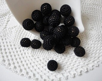 12 pcs- 13 mm beads-crocheted bead-black beads-round beads-crochet ball beads-beads crochet-embellishment-wooden crochet cotton yarn beads