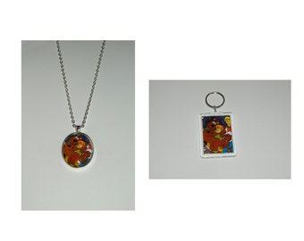 Scooby Doo Scooby Shaggy Glass Pendant Necklace and/ or Keychain